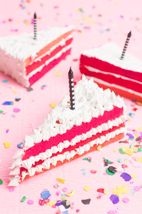 Learn to make this fake ombre birthday cake slive