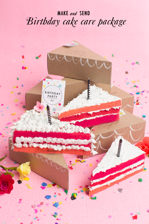 Send a birthday cake care package in the mail with this fake cake and free printable birthday party kit