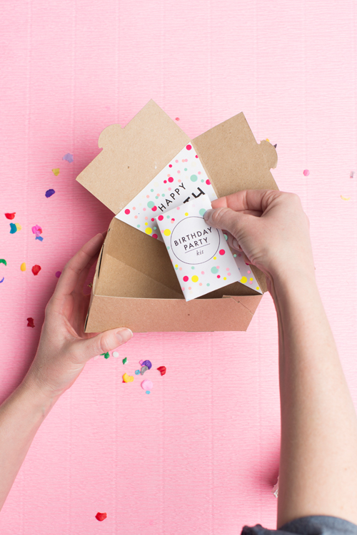 send a birthday party kit in a cake box