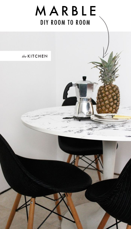 Did You Notice That There Was No Actual Marble Used?! There Are Some Mighty  Clever People In The World You Guys! DIY Faux Marble Kitchen Table ...