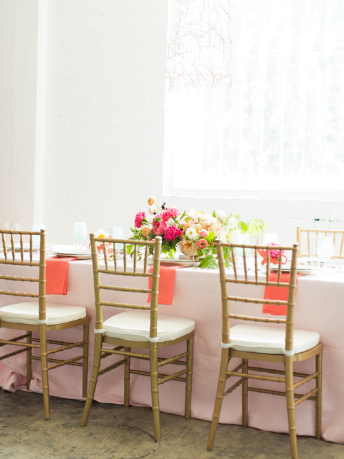 Flamingo Pop. A bridal collaboration with BHLDN and The House That Lars Built. Table linens and chairs from Scene Makers. Flowers by Tinge. Photo by Jessica Peterson.