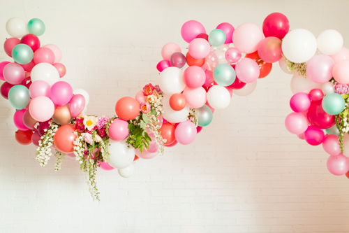 Flamingo Pop. A bridal collaboration with BHLDN and The House That Lars Built. Flowers by Tinge. Balloons from Zurchers. Photo by Jessica Peterson.