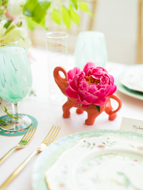 Flamingo Pop. A bridal collaboration with BHLDN and The House That Lars Built. Dinnerware and accessories from Anthro. Photo by Jessica Peterson.