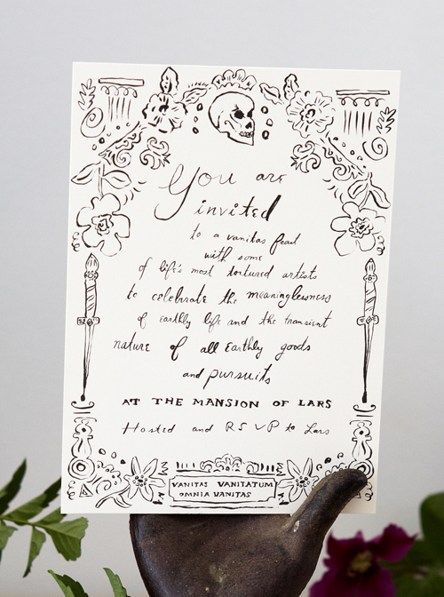 Printable halloween party invitation the house that lars built for our vanitas halloween party check out the full explanation of our theme here we recruited the talented danielle kroll to design an invitation stopboris Images