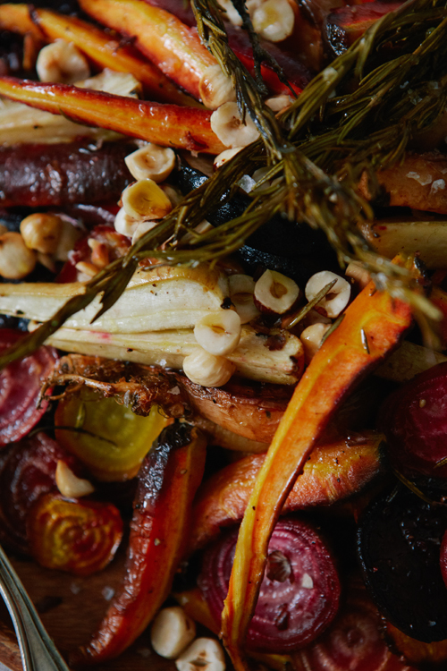 Roasted root vegetables with honey orange vinaigrette