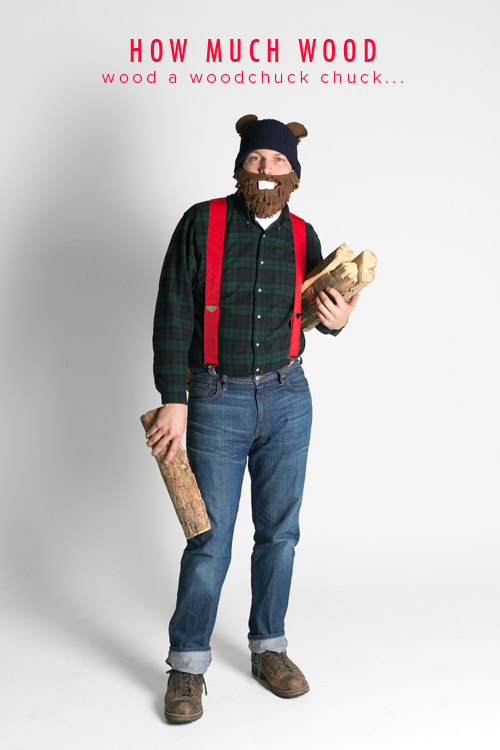 """""""How much wood would a wookchuck chuck if a woodchuck could chuck wood?"""" Halloween costume"""