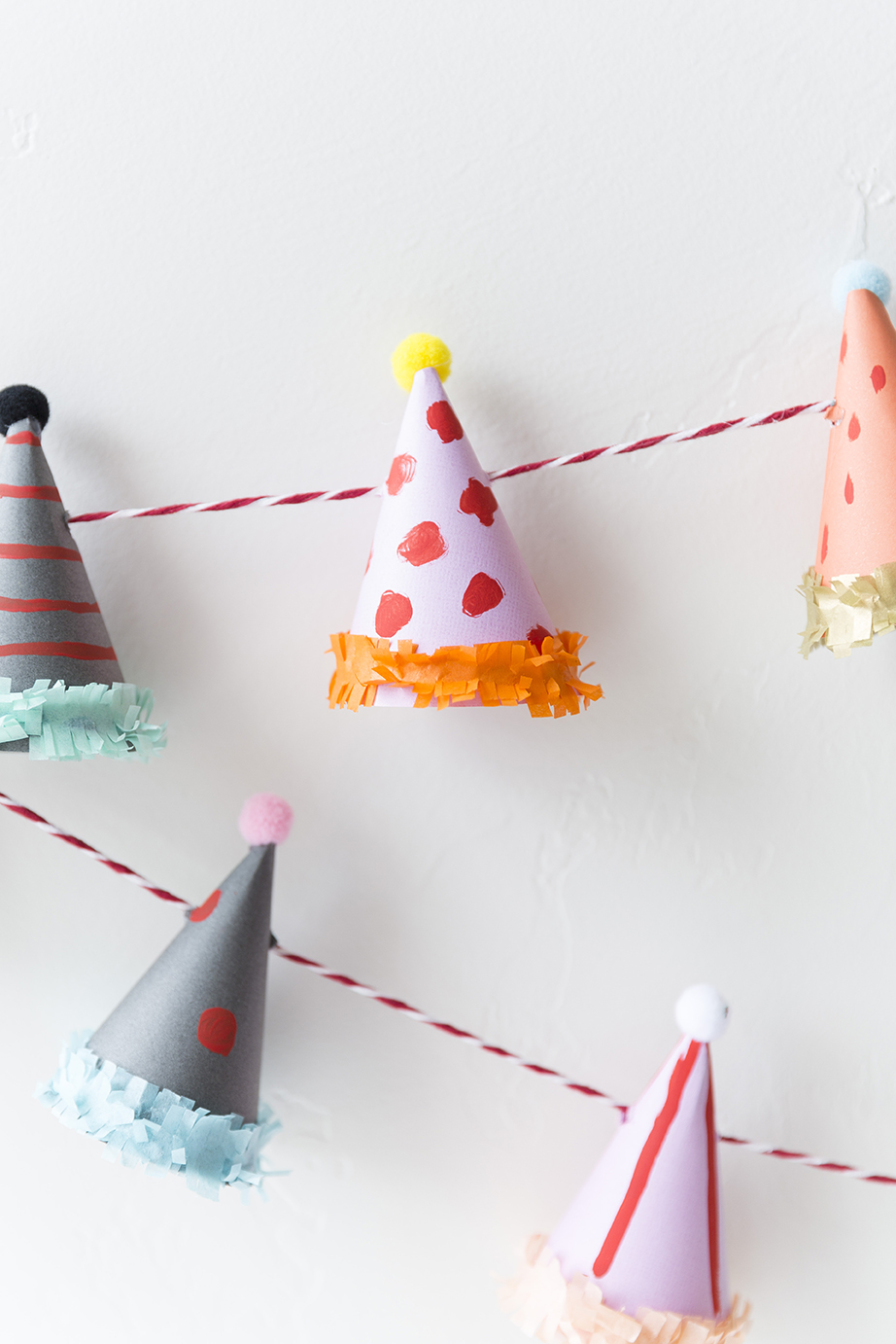 Party hat garland tutorial