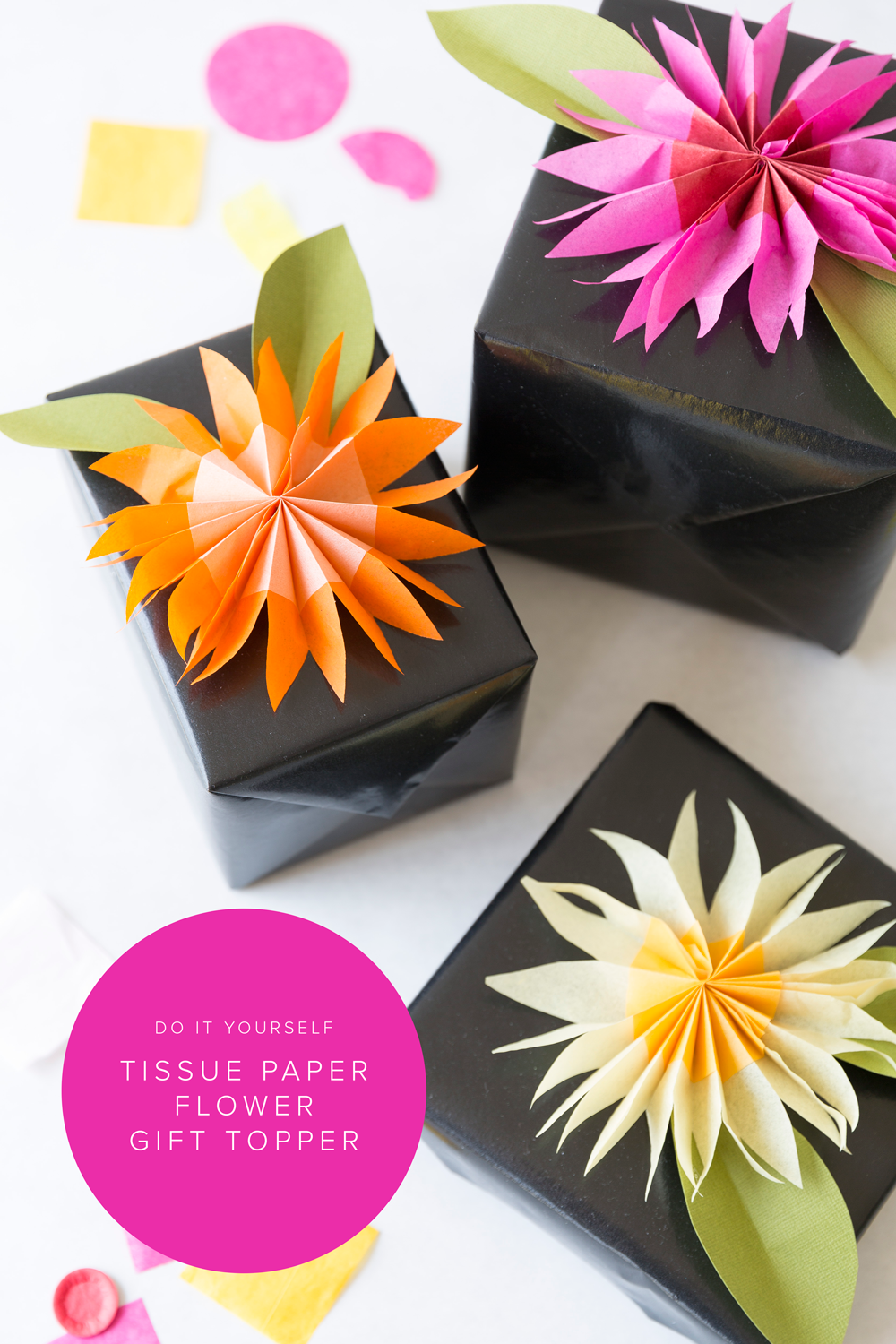 Tissue paper flower gift topper