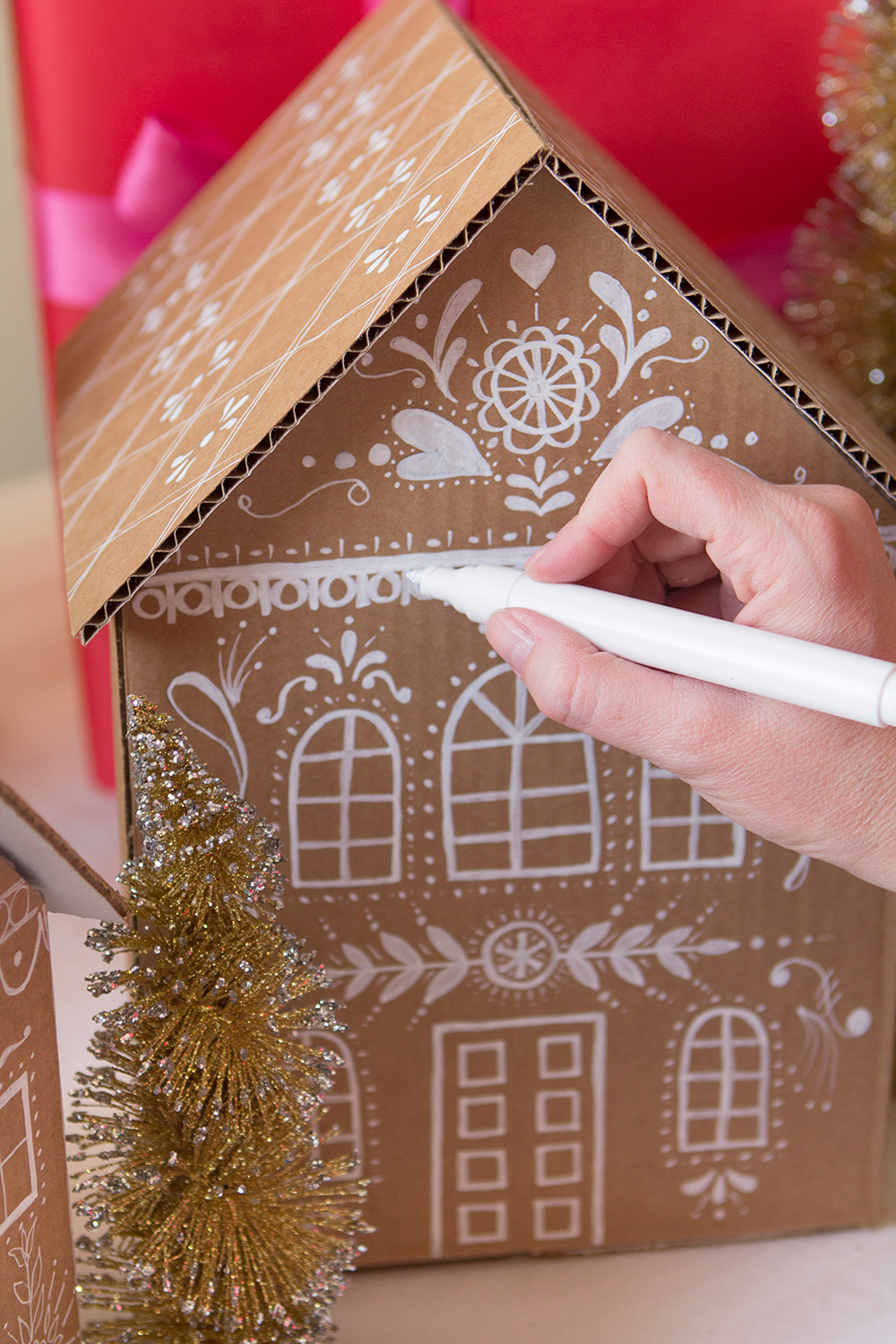 Diy gingerbread house gift boxes for How to make a house from cardboard box