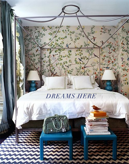 Botanical wallpaper bedroom from Domino by Miles Redd