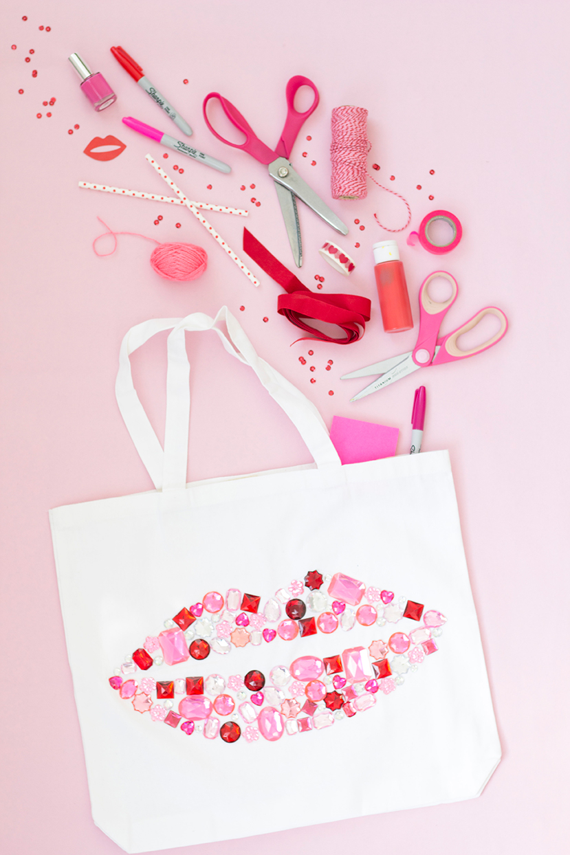 Bedazzled lips gem stone tote bag
