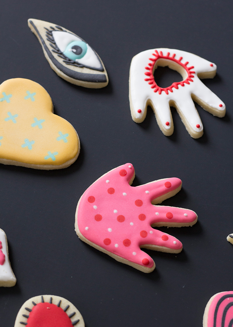 Hearts hands eyes lips cookies Valentine's Day cookies