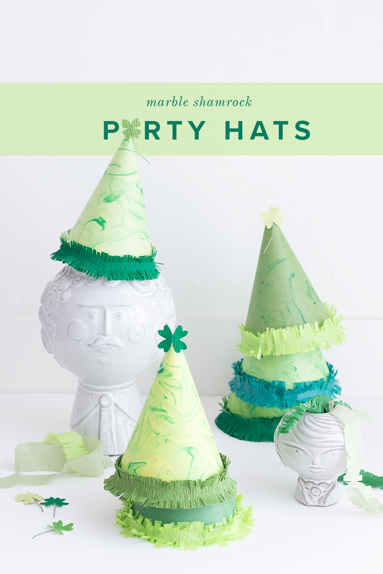 DIY marbled shamrock party hats for St. Patrick's Day