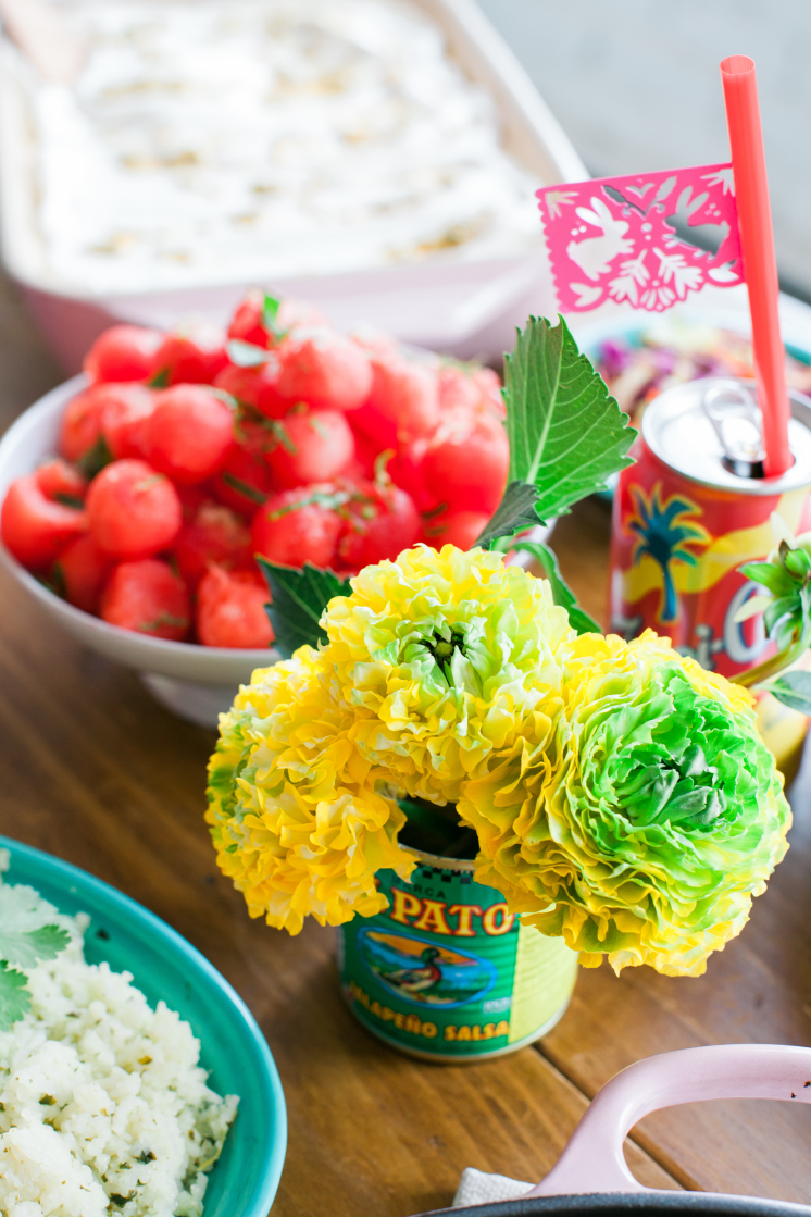 Watermelon Balls Brights flowers, mexican food and soda with Papel Picado straw