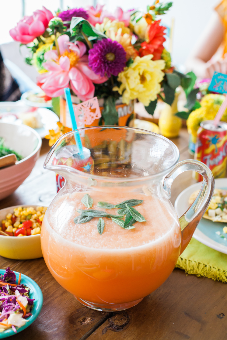 cantaloupe agua fresca with mint, mexican juice, punch
