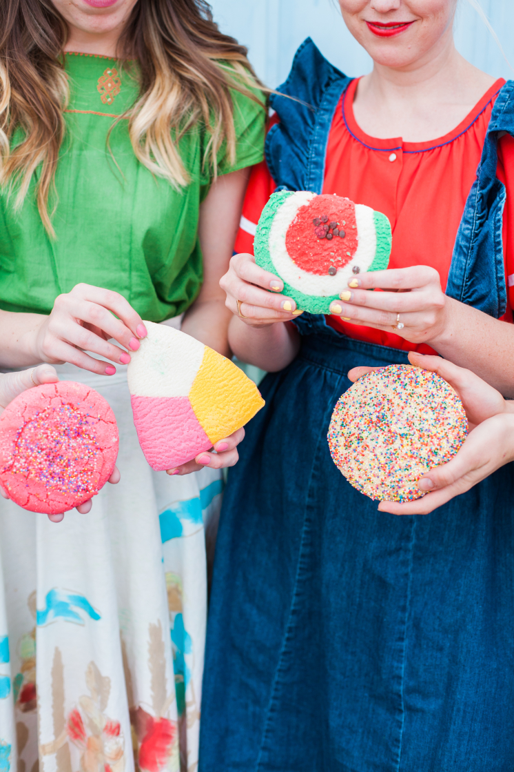 Brittany and friends with colorful mexican cookies