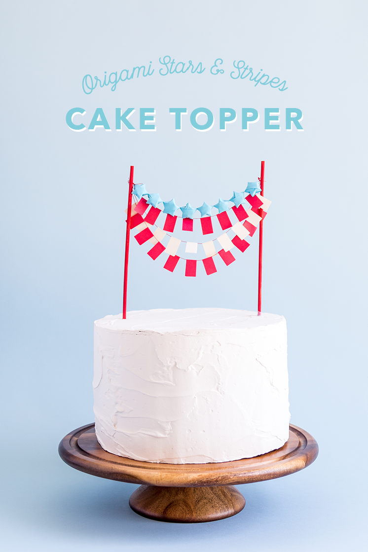 Origami Stars And Stripes Cake Topper