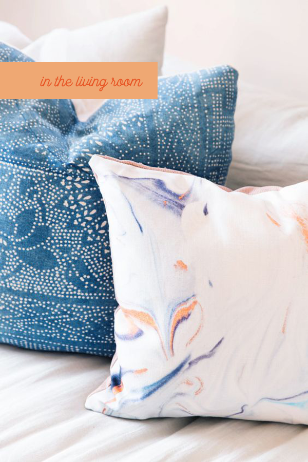 DIY marbled pillow