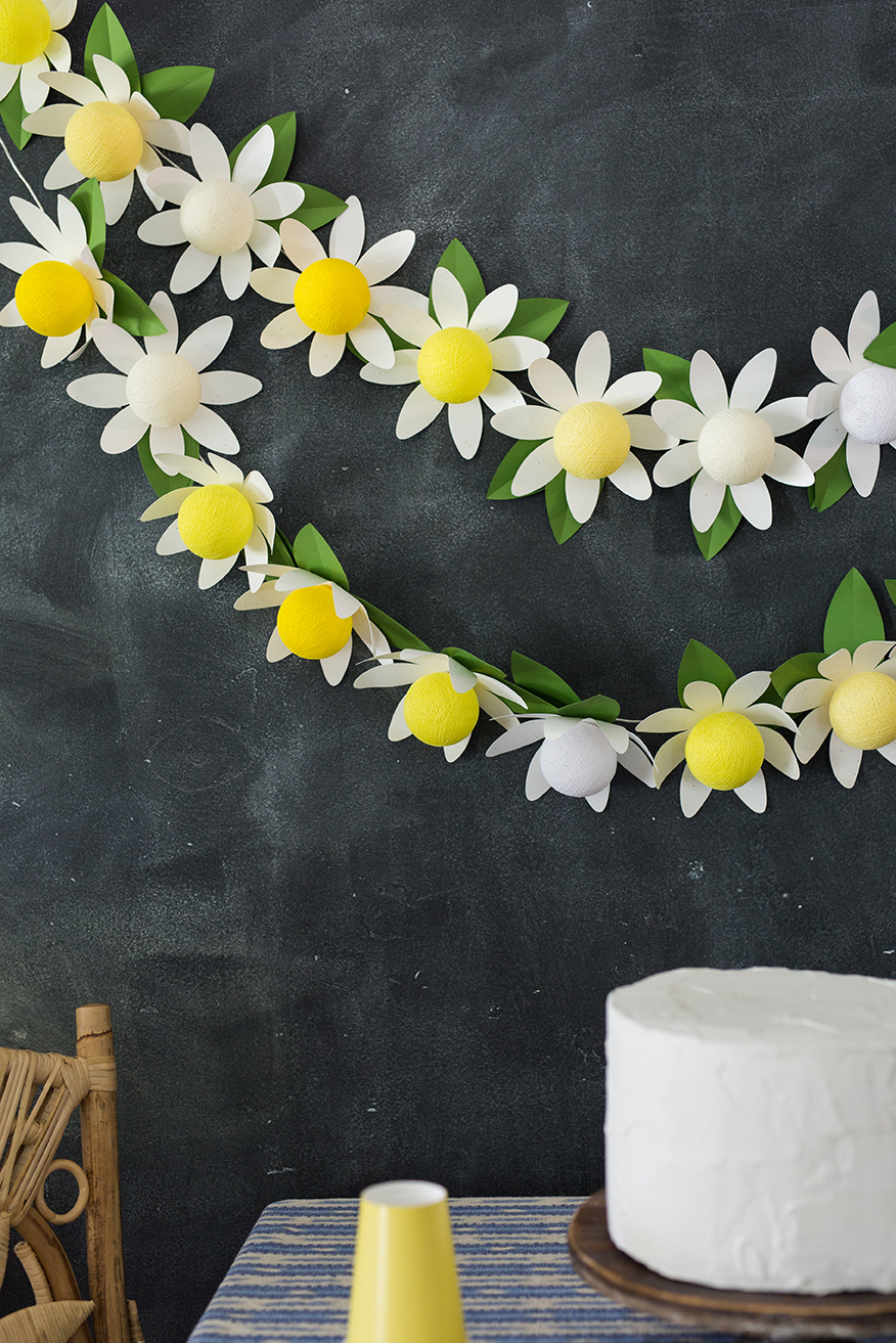 DIY paper daisy string lights