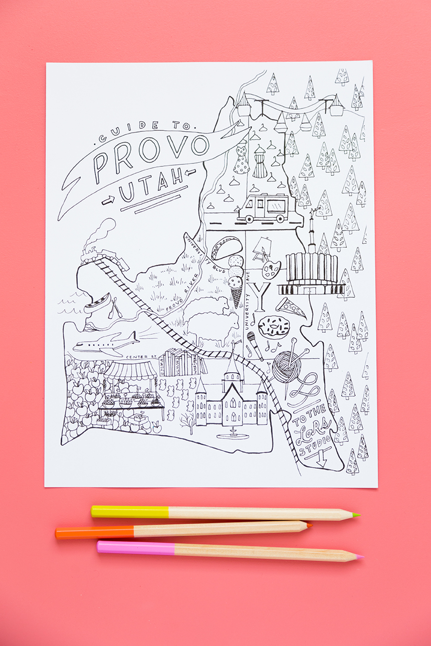 Provo City Guide and coloring page