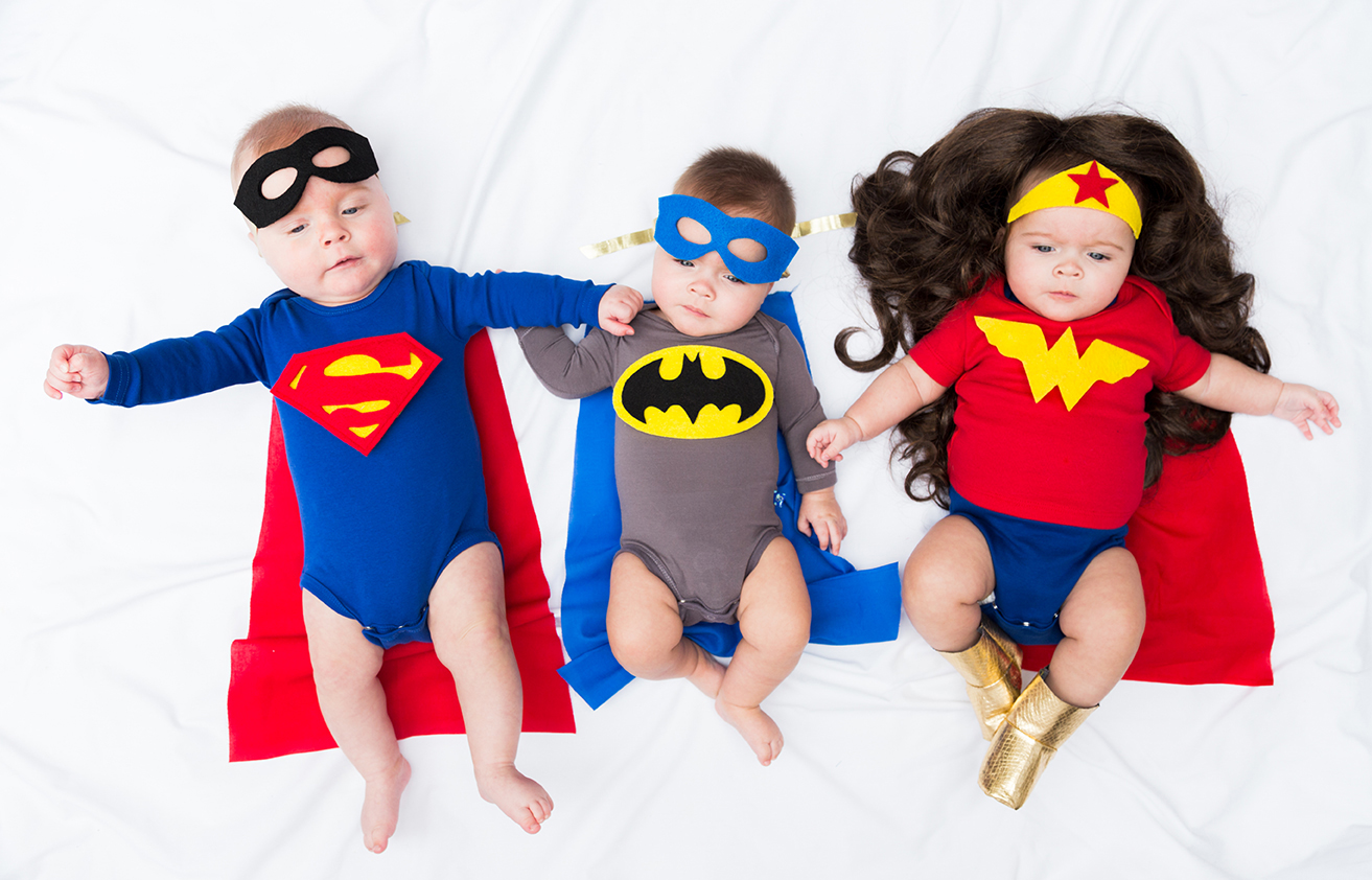 superheroes costumes for baby triplets