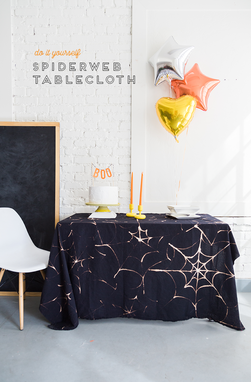 DIY Spider Web Tablecloth