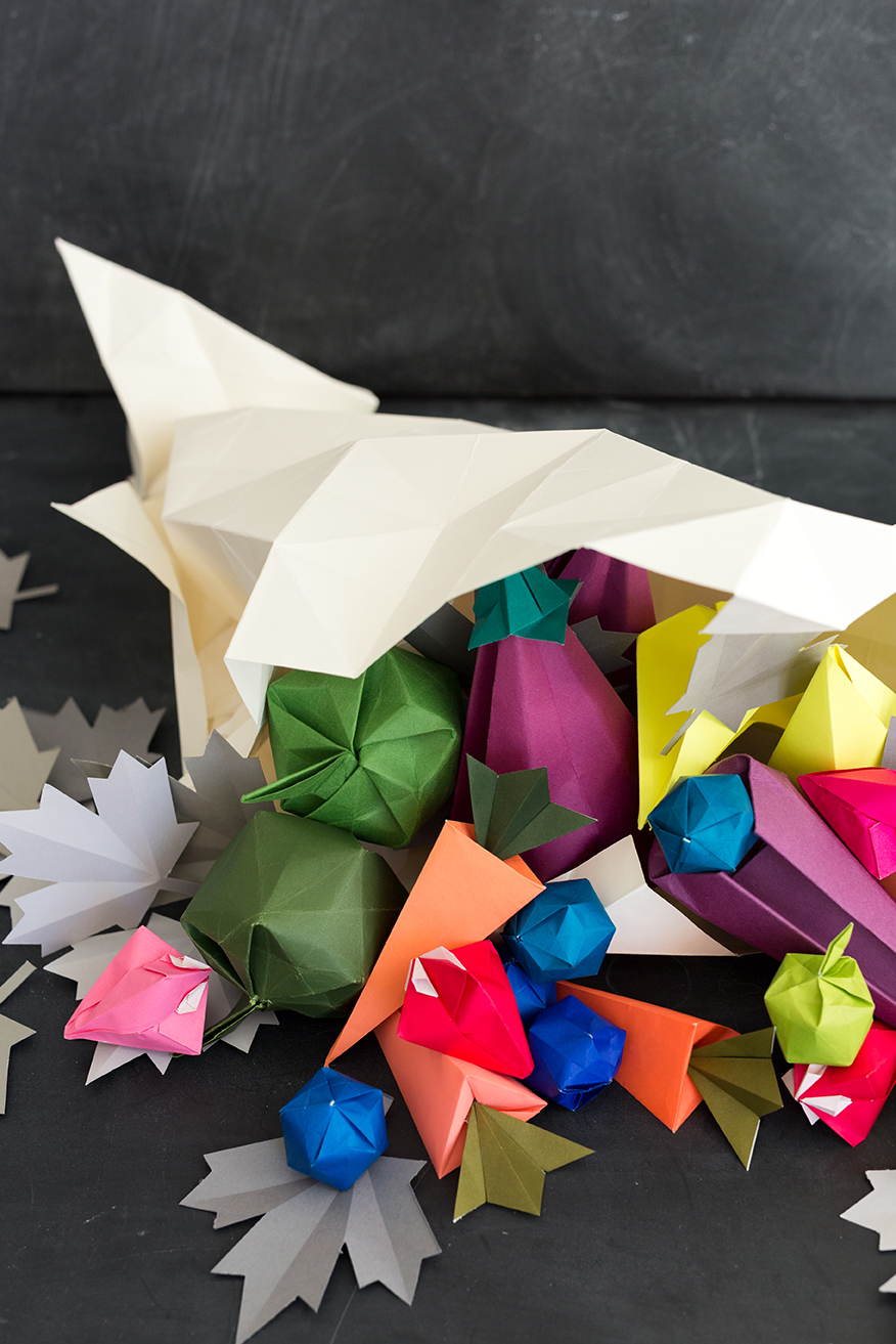 Origami cornucopia thanksgiving