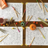 Thanksgiving printable placemat coloring page from The House That Lars Built