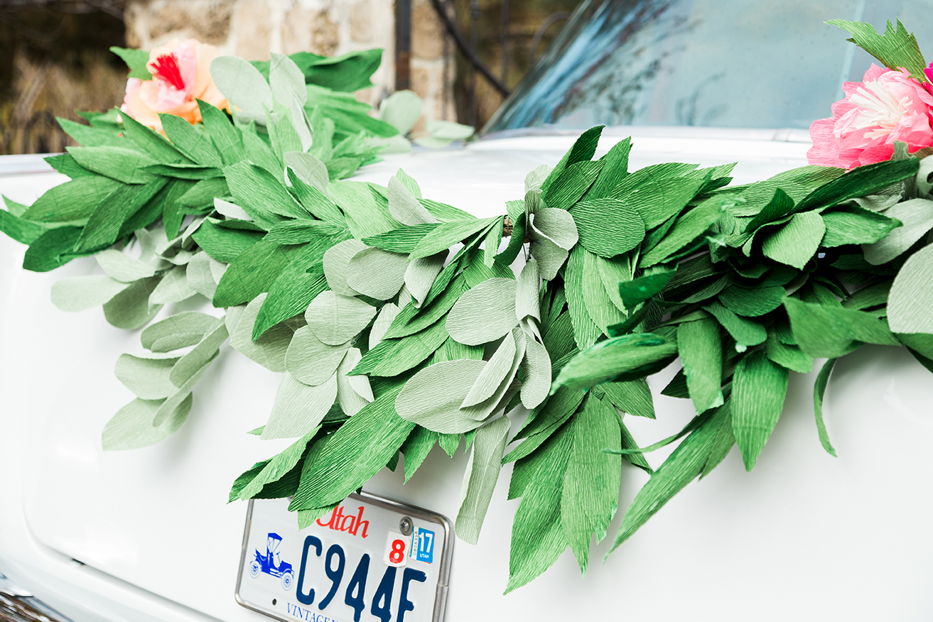 paper garland for wedding car