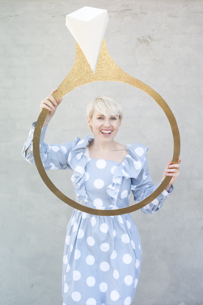 Origami diamond ring photo booth prop