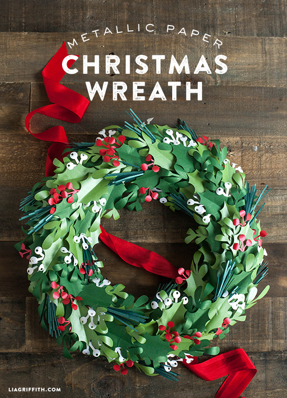 Metallic paper christmas wreath