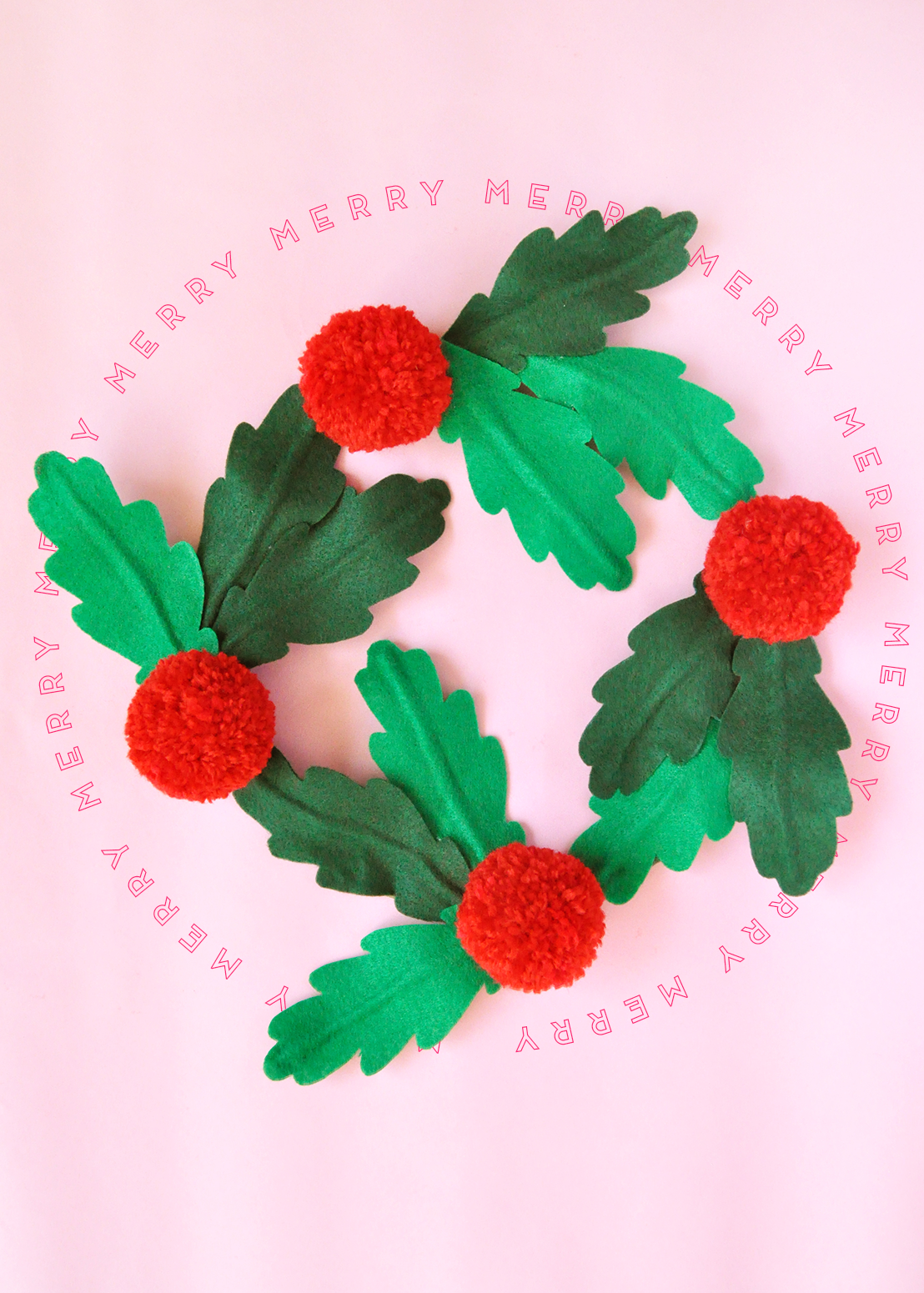 Felt holly and pom pom berry wreath