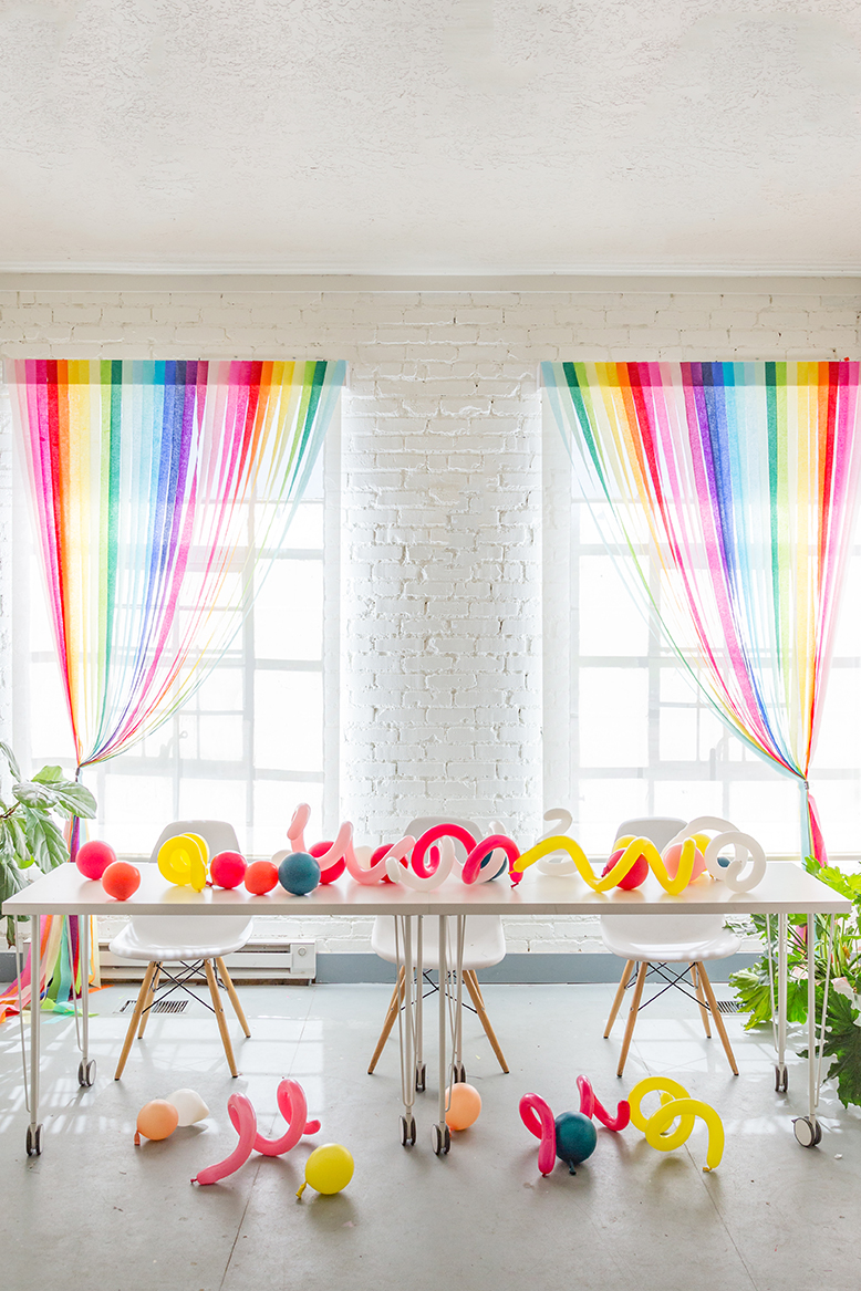 DIY Rainbow streamer curtains