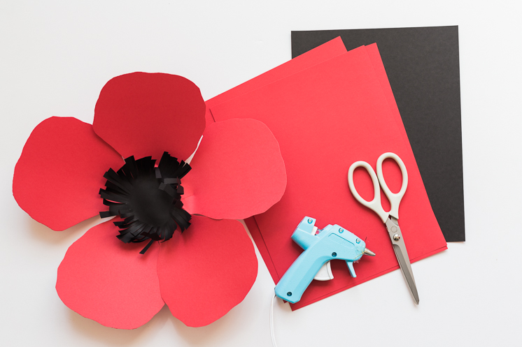 DIY paper poppy backdrop and pin