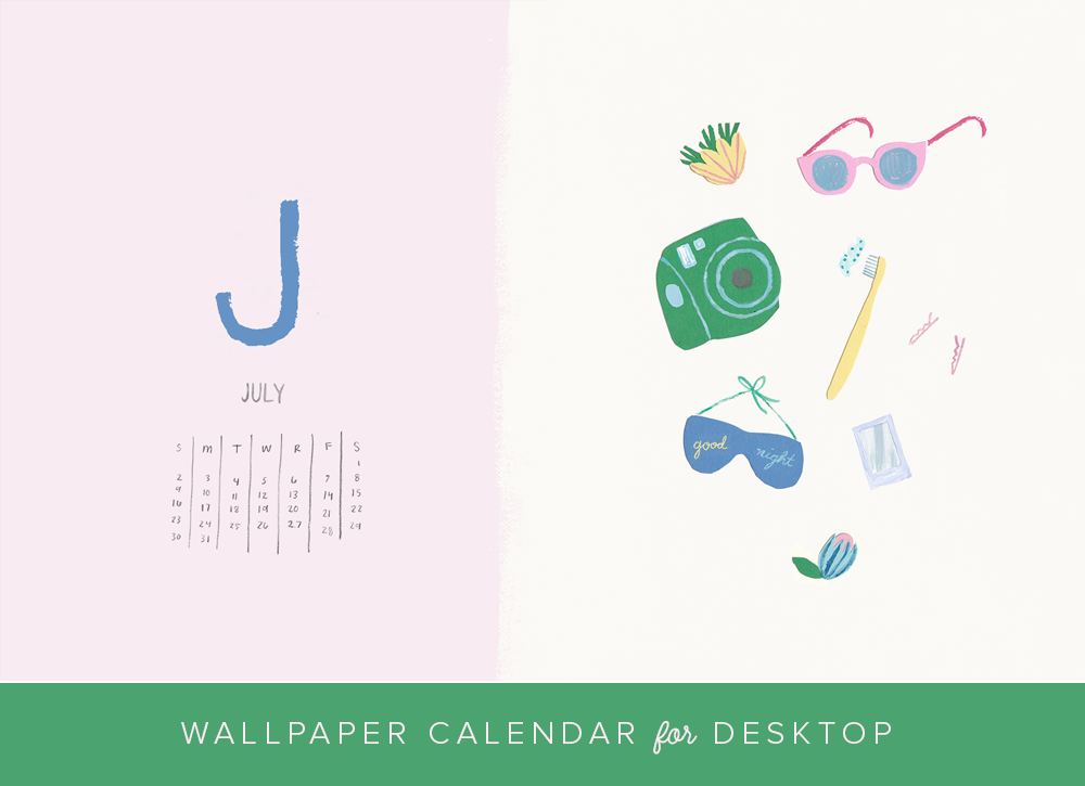 JUly 2017 desktop wallpaper and calendar