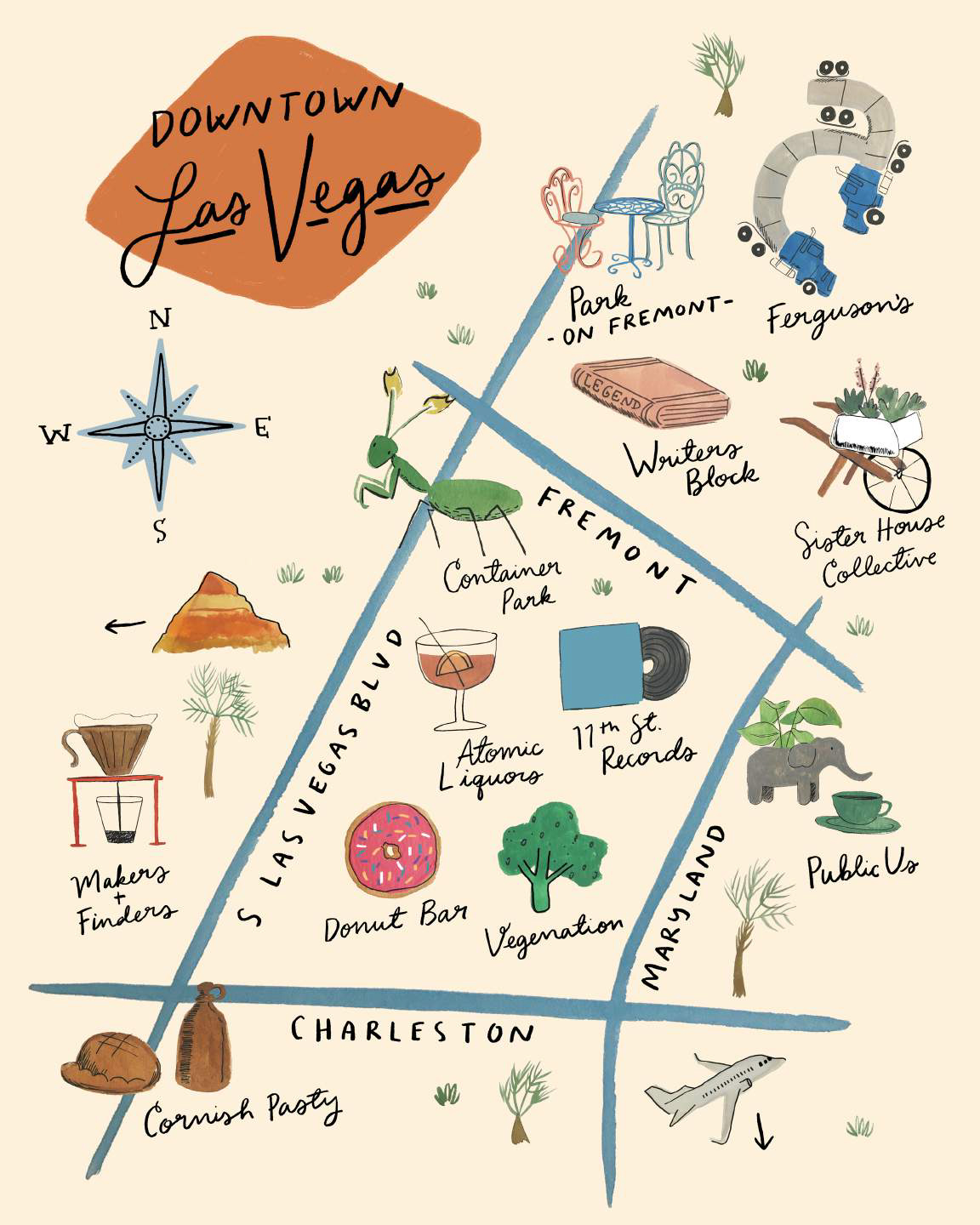 Illustrated Downtown Las Vegas City map