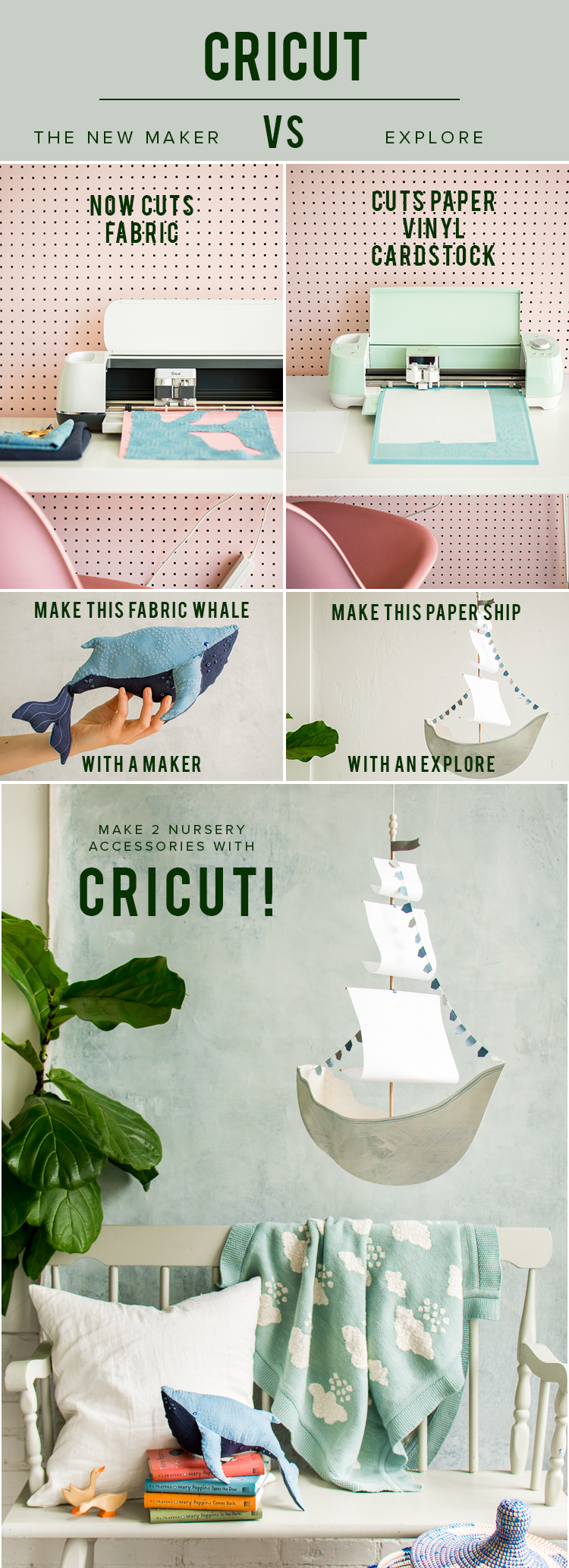 Use the Cricut Maker and the Cricut Explore to create these two nursery projects