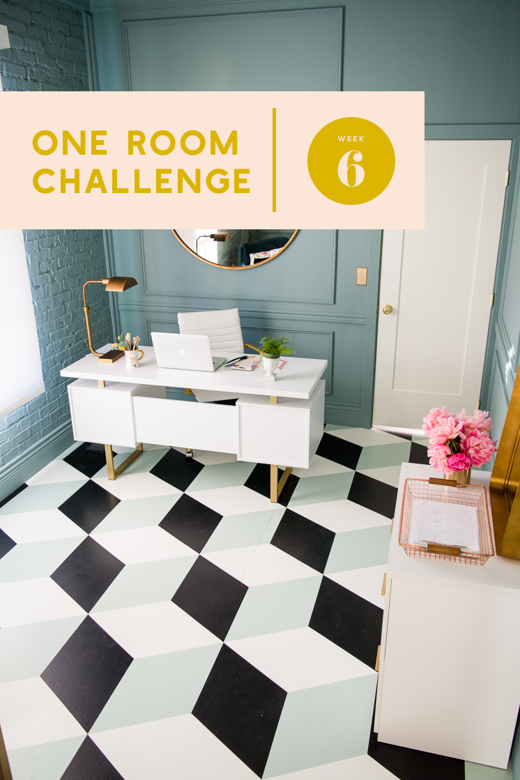 One room challenge week 6 diy tumbling block painted tile the how to paint a tumbling block pattern floor dailygadgetfo Images