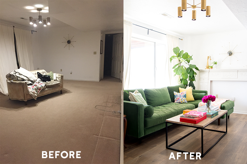 Before and after transformation using Pergo laminate flooring