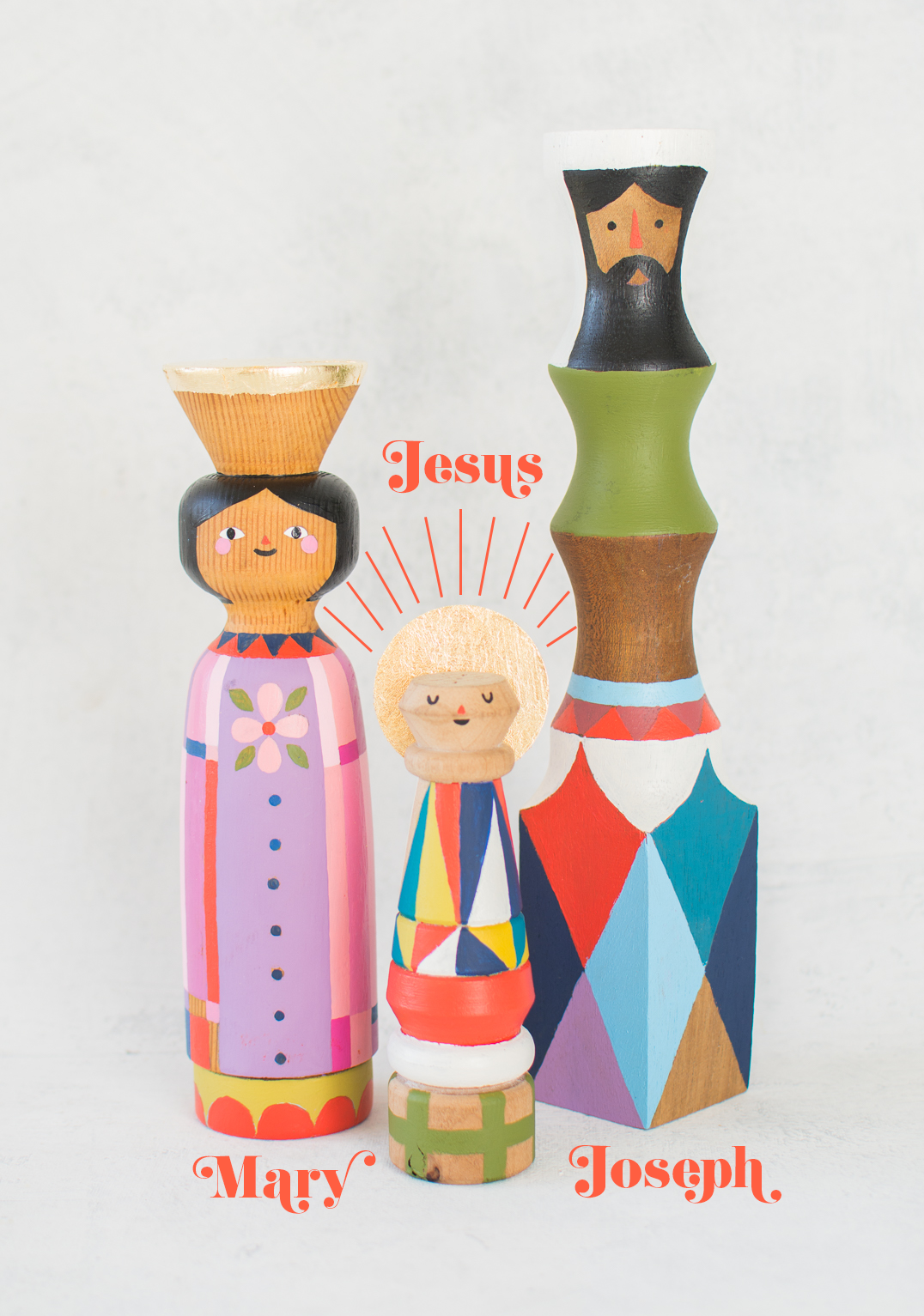 Mary Joseph and Jesus nativity wood finial set