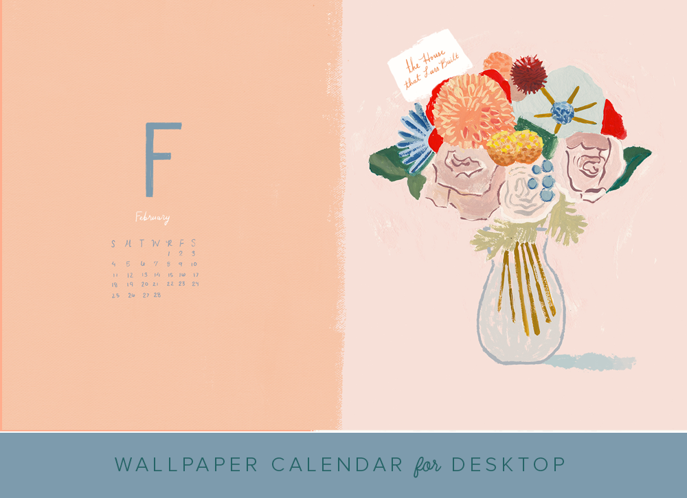 February 2018 desktop wallpaper calendar