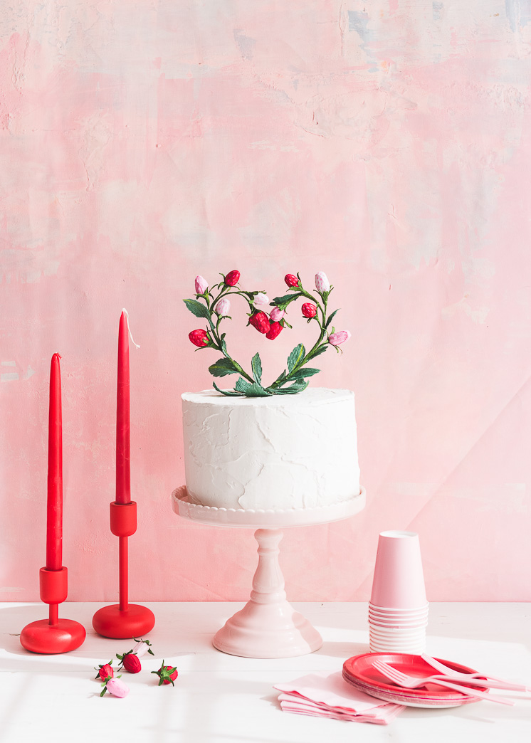 Strawberry Heart Cake Topper