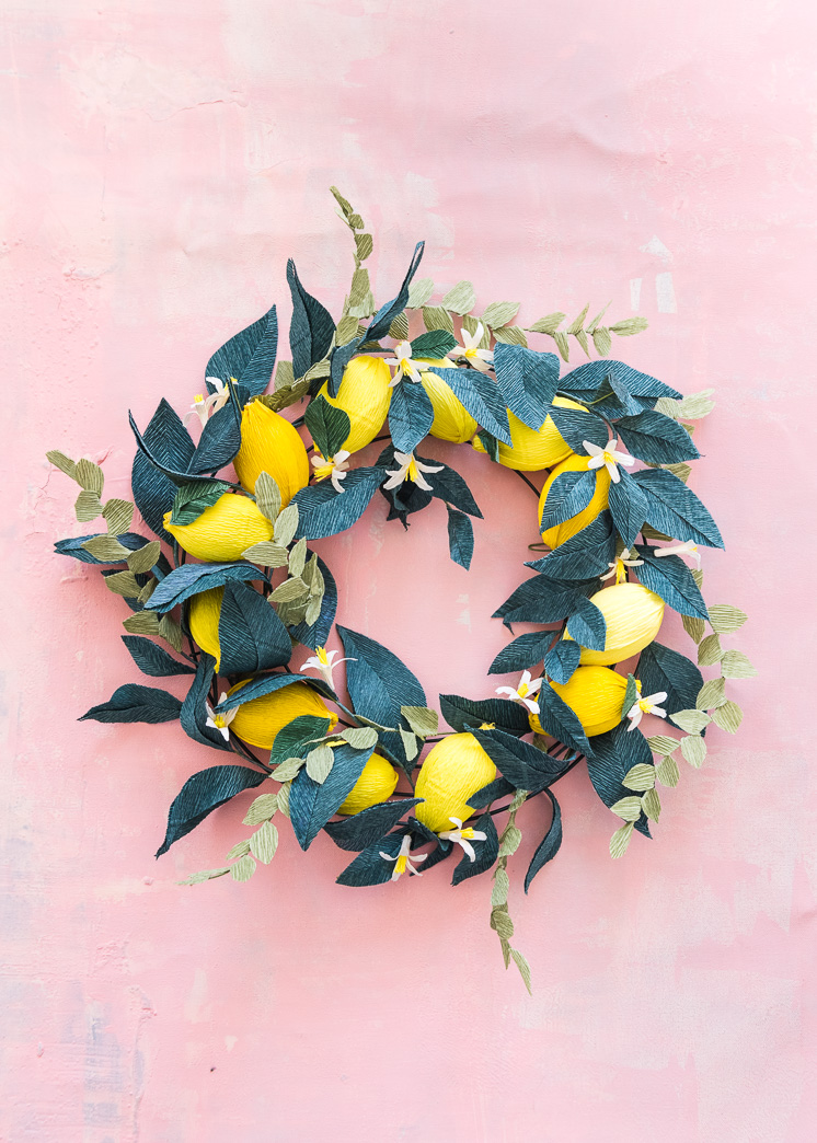 Crepe Paper Lemon Wreath