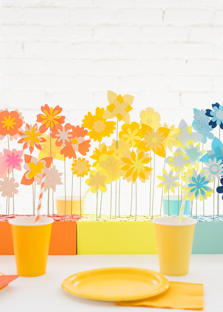 Rainbow Paper Flower Tablescape