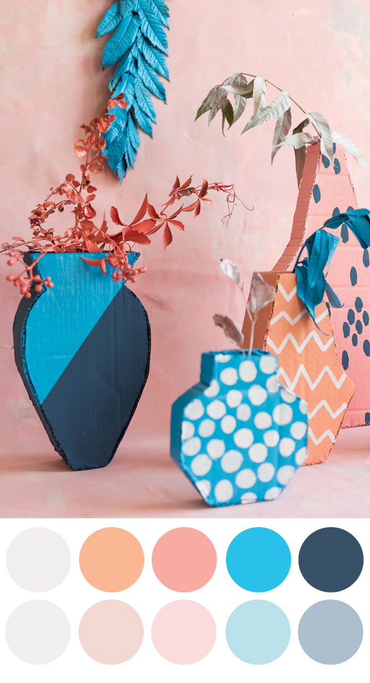 2D Cardboard Vase with color palette
