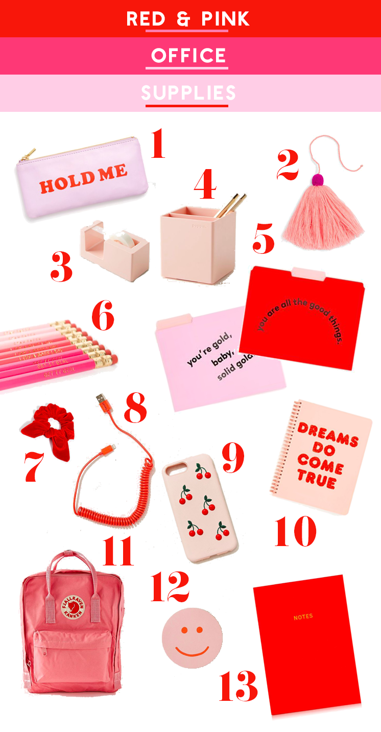 Red + Pink School Supplies - The House That Lars Built