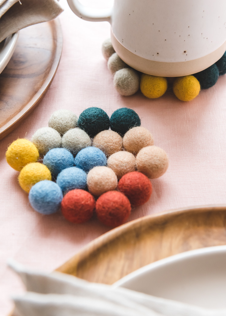 DIY Felt Ball Coasters