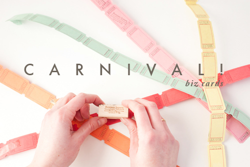 Carnival ticket business cards