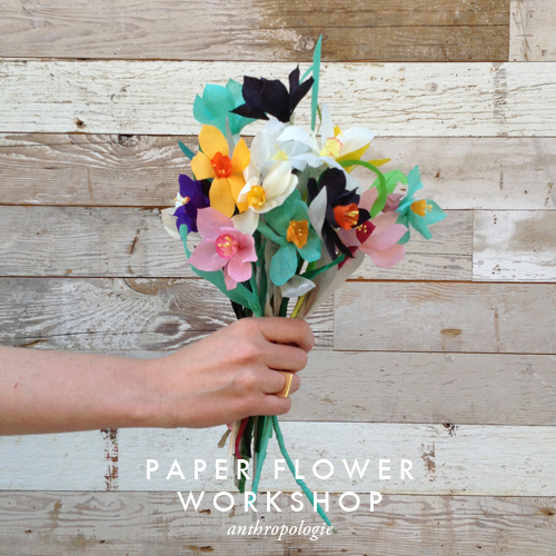 Paper flower workshop at Anthropologie Salt Lake City