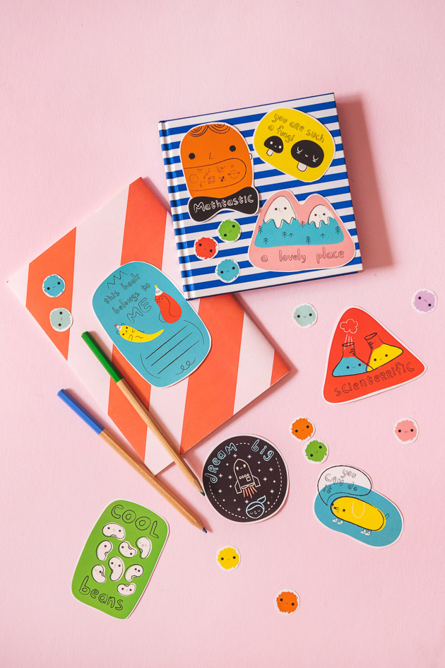 back to school stickers on notebooks